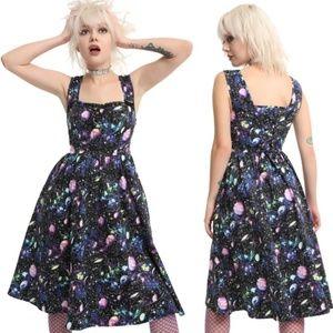 Hot Topic Dresses - Hot Topic Planets Galaxy Black Fit Flare Dress L